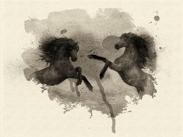 Art, Printing, Watercolor, Horses, Nature