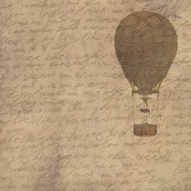 Background, Vintage, Hot Air Balloon, Script