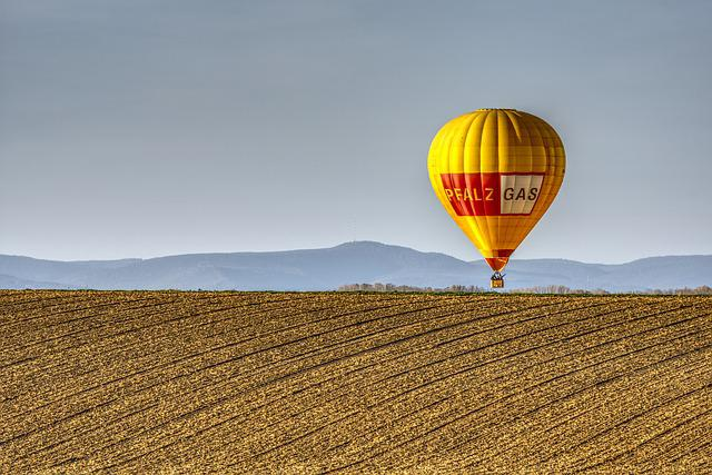 Balloon, Hot Air Balloon, Field, Landscape, Blue Sky