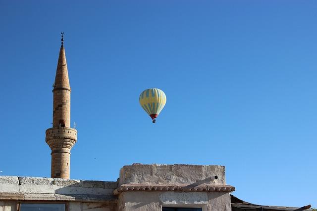 Turkey, Hot Air Balloon Ride, Mosque, Hot Air Balloon