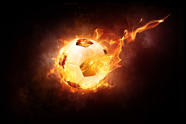 Football, Ball, Sport, Leather, Fire, Light, Flame, Hot