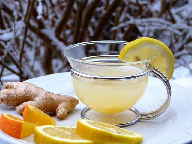 Lemon, Ginger, Orange, Snow, Hot, Drink, Tee, Out