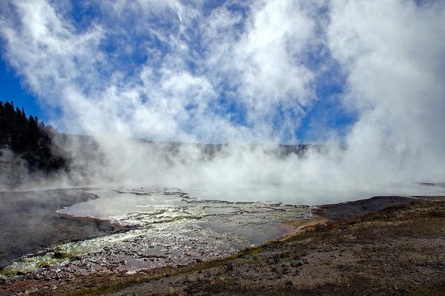 Midway Geyser Basin Runoff, Hot, Springs, Yellowstone