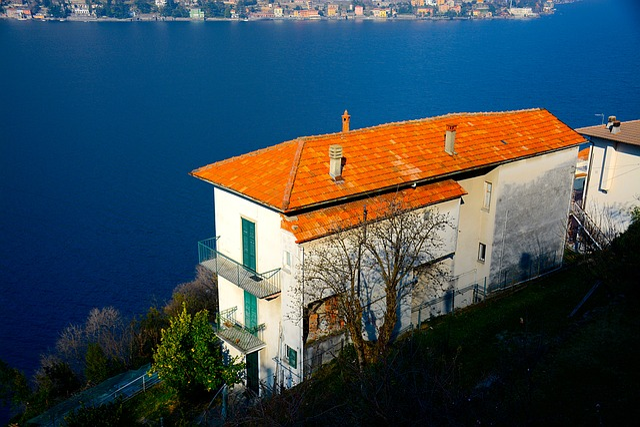 House, Lake, Lake House, Architecture, Landscape, Blue