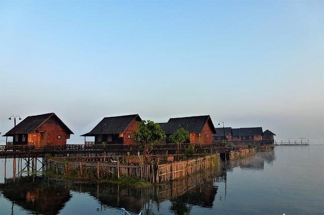 Burma, Body Of Water, Outdoor, House, Village, Stilt
