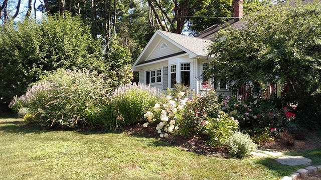 House, Spring, Front Door, Front Yard, White, Flowers