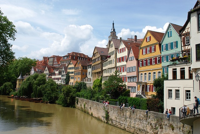 House, Tuebingen, Germany, River, City