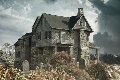 House, Cemetery, Haunted House, House Near The Cemetery