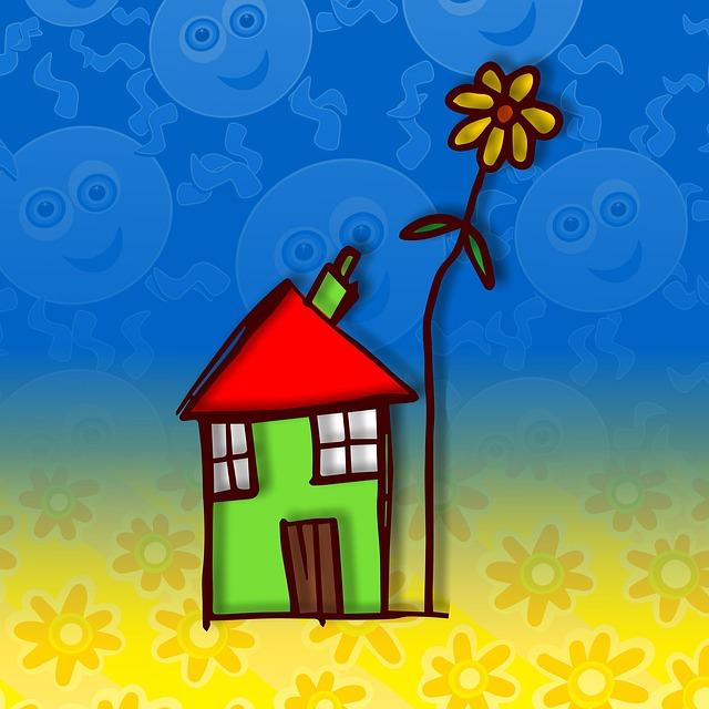 Doodle, Cartoon, House, Home, Housing, Property