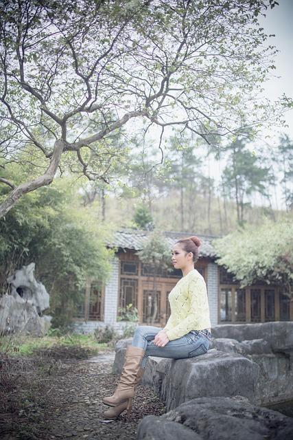 Woman, Photo, The Yard, Trees, Jeans, Ball Head, House