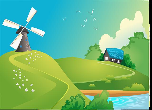 House, Lake, Landscape, Windmill, Green House