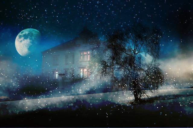 Night, Winter, Snow, House, Lighting, Moonlight