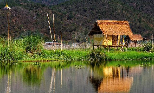 House, Stilts, Inly, Lake, Myanmar, Water, Reflection