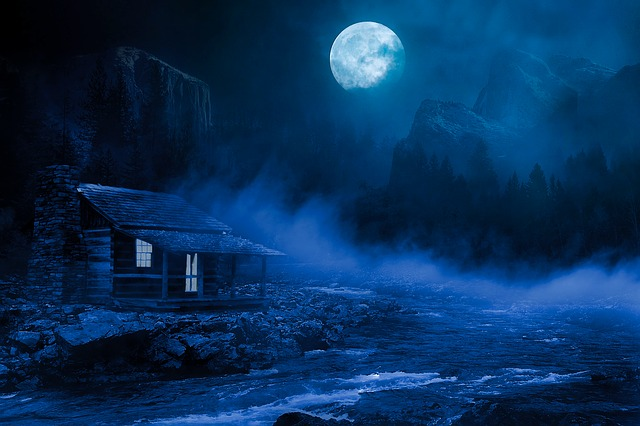 Night, Good Night, House, Illuminated, Fog, River, Moon