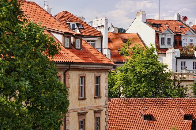 Roofs, Bowever, Prague, House Roof, Facade, Contrasts