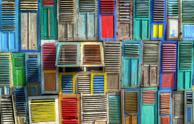 Colorful, Shutters, Windows, Beach, Design, House
