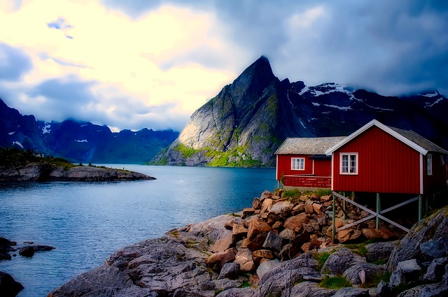 Norway, Cottage, House, Home, Mountains, Sky, Clouds