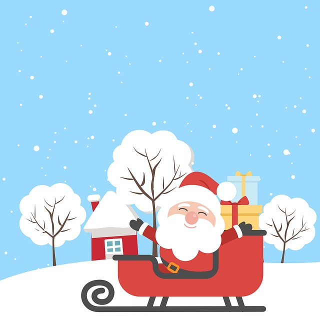 Santa, Christmas, Tree, House, Snow, City, Xmas