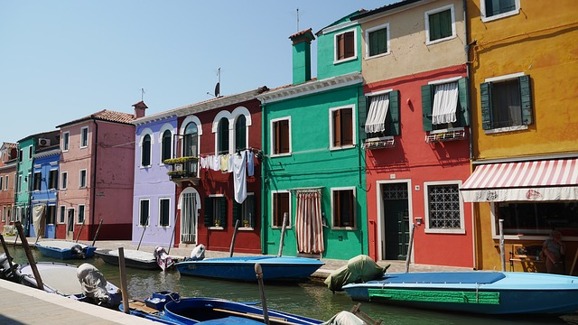 Burano, Channel, Colors, Houses
