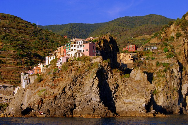Houses, Colors, Colorful, Sea, Rock, Mountain, Water