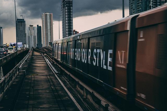 Train, Buildings, Urban, Downtown, Houses, Modern