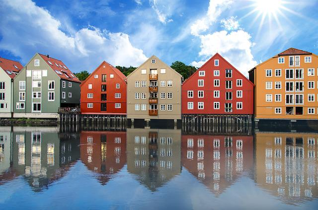 Trondheim, Norway, Houses, Colors