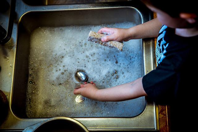 Washing Dishes, Soap, Sink, Bubbles, Child, Housework