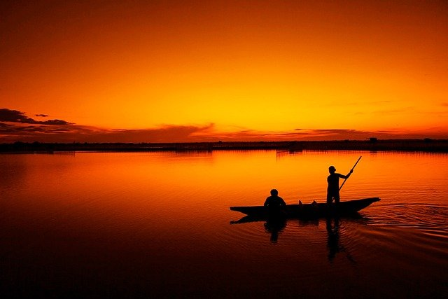 Fishing, Boat, Fisherman, Tam Giang Lagoon, Hue, Sunset