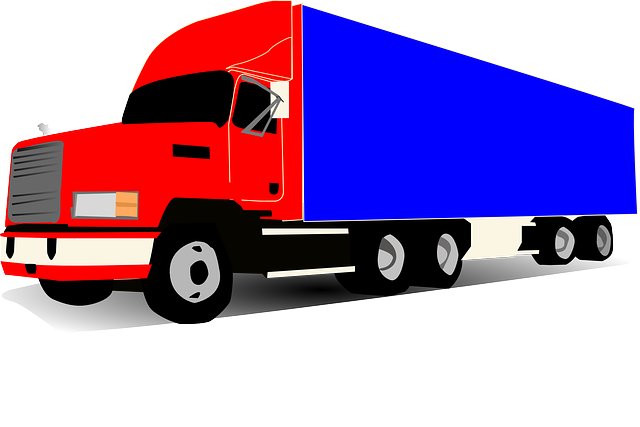 Truck, Wheeler, Trucker, Blue, Red, Huge