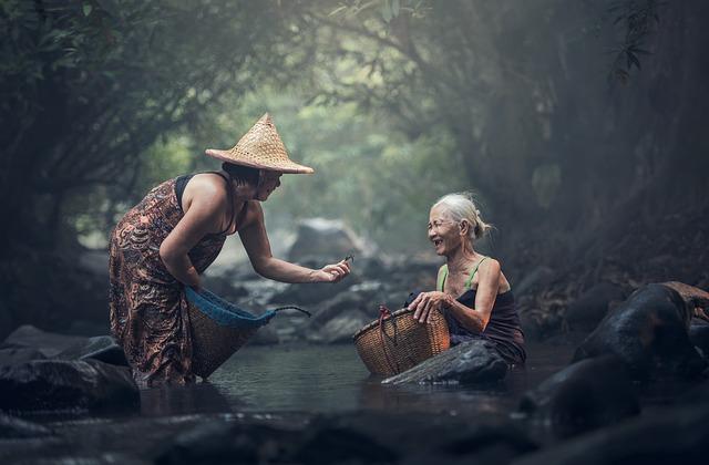Asia, Bathing, Cambodia, Ederly, Human, Indonesian