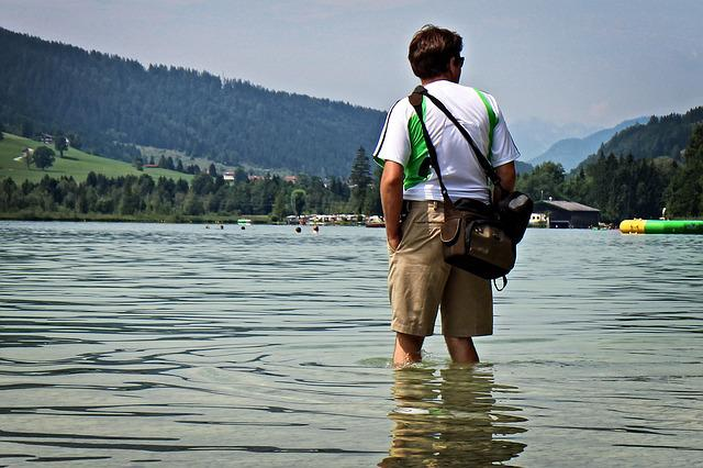 Kneippen, Treading Water, Person, Water, Lake, Human