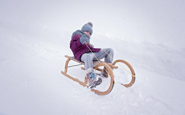 Person, Human, Child, Girl, Slide, Toboggan, Winter