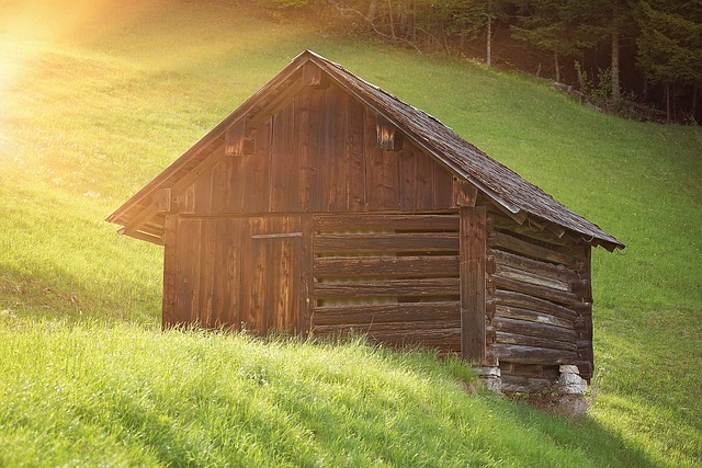 Hut, Log Cabin, Barn, Heustadel, Landscape, Nature