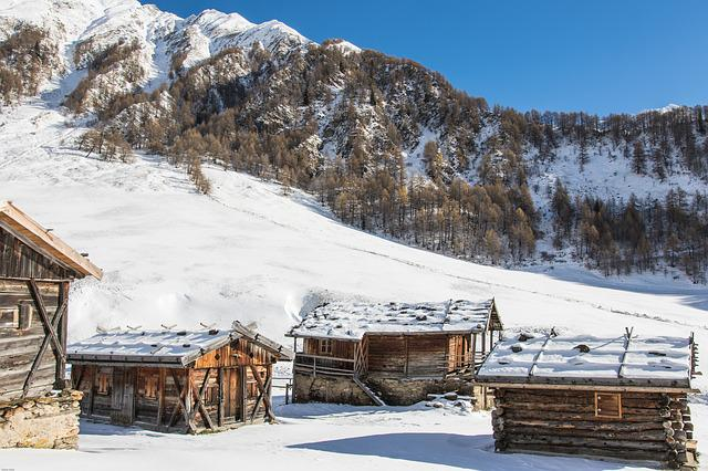 South Tyrol, Almen Village, Winter, Mountain Huts, Hut