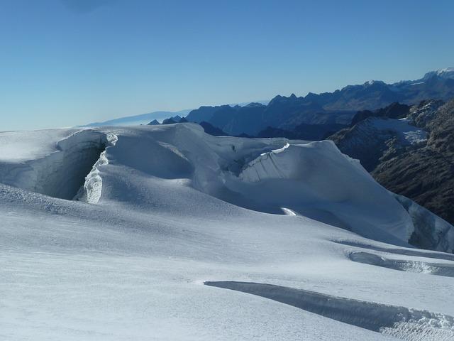 Glacier, Crevasse, Huyana Potosi, Bolivia, Icebergs