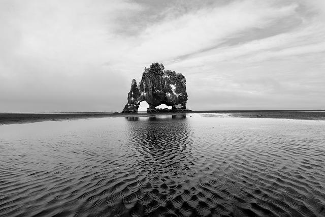 Waters, Sea, Reflection, Iceland, Hvitserkur