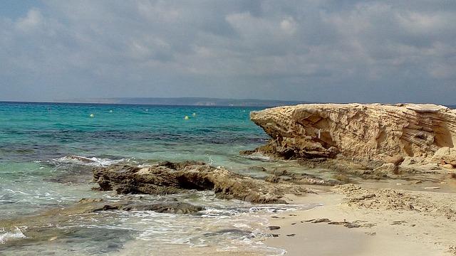 Sea, Rock, Ibiza, Paya, Landscape, Cliff, Waves