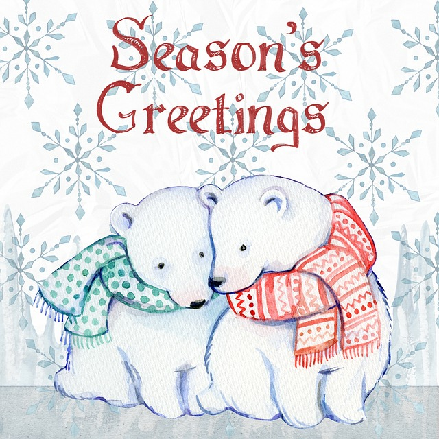 Christmas, Watercolor, Ice Bears, Snow, Merry