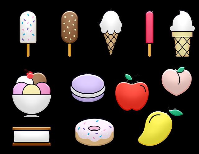 Ice Cream, Sweets, Fruit, Popsicle, Cone, Macaroon