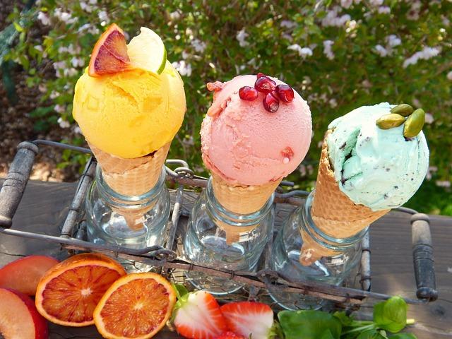 Ice Cream, Ice Cream Flavors, Fruits, Waffles