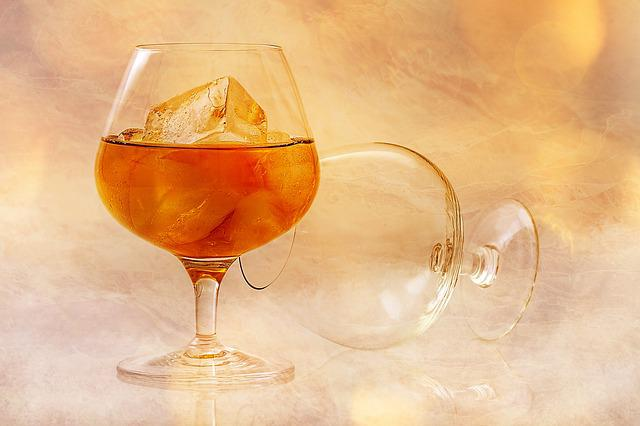Alcohol, Glass, Ice Cubes, Brandy, Alcoholic