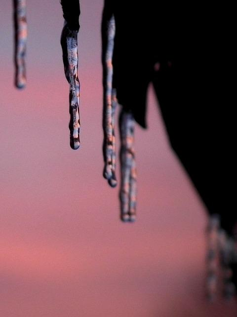 Ice, Icicle, Sunset, Violet, Sky, Frozen, Winter, Cold