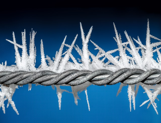Ice, Wire, Winter, Blue, Cold, Metal, Fence, Frozen
