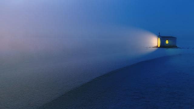 Winter, Evening, Chapel, Fog, Light, Glow, Snow, Ice