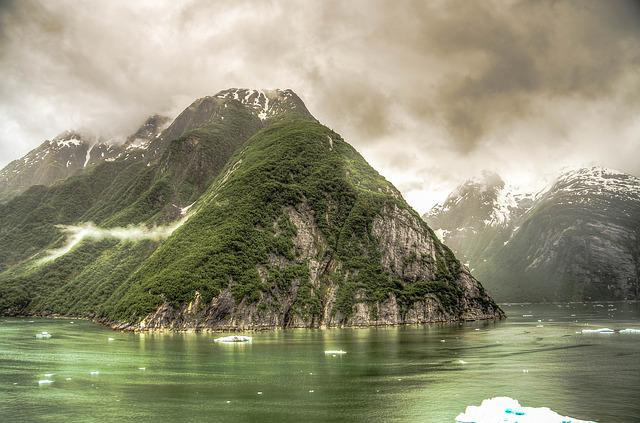 Tracy Arm, Alaska, Glacier, Ice, Mountains, Snow