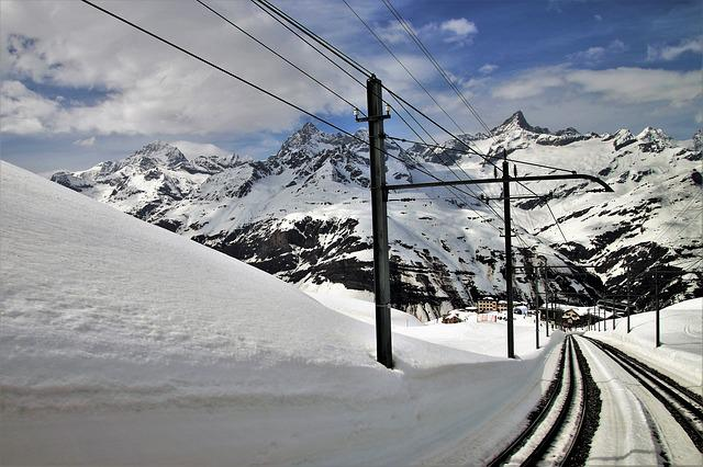 Zermatt, The Alps, Snow, Winter, Mountains, Tracks, Ice