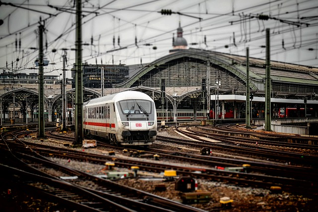 Railway Station, Cologne, Train, Railway, Ice, Rails