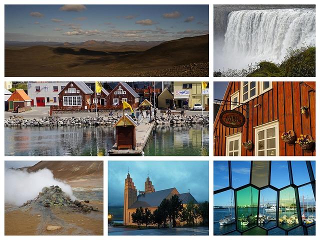 Iceland, Collage, Waterfall, Highlands, Reykjavik