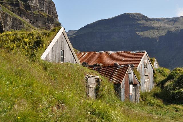 Iceland, Torfhaus, Grass Roof, Hut, Building
