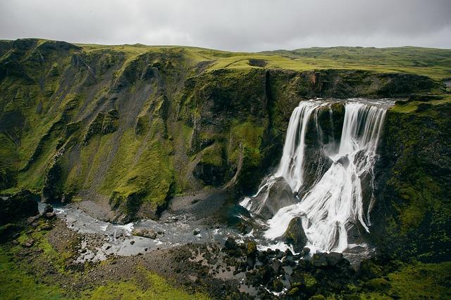Waterfalls, Cliff, Iceland, Grass, Landscape, Nature